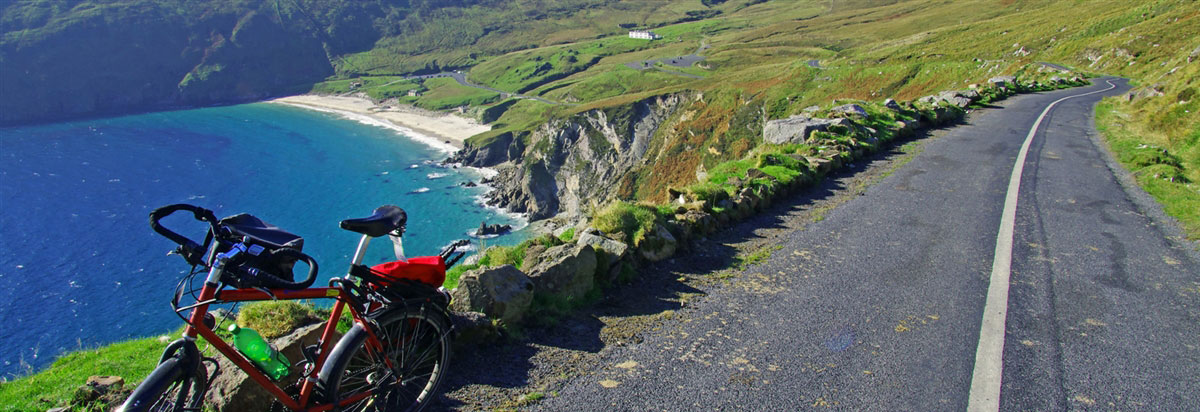 Cycling to Keem Beach on Achill Island